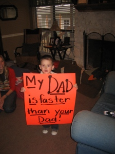 Jaxon's sign to cheer dad on