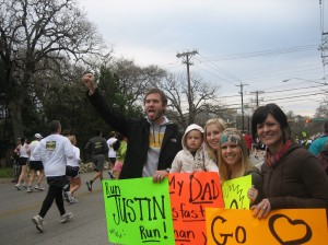 part of Justin's cheering squad at mile 10