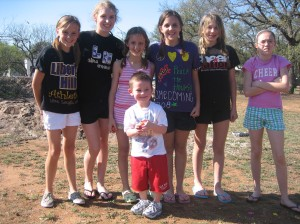 Jaxon with all of his Liberty Hill friends...he had these girls doing everything he asked!