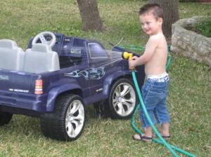 Jaxon washing his truck
