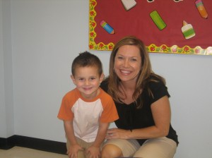 Jaxon with his teacher Ms. Amy